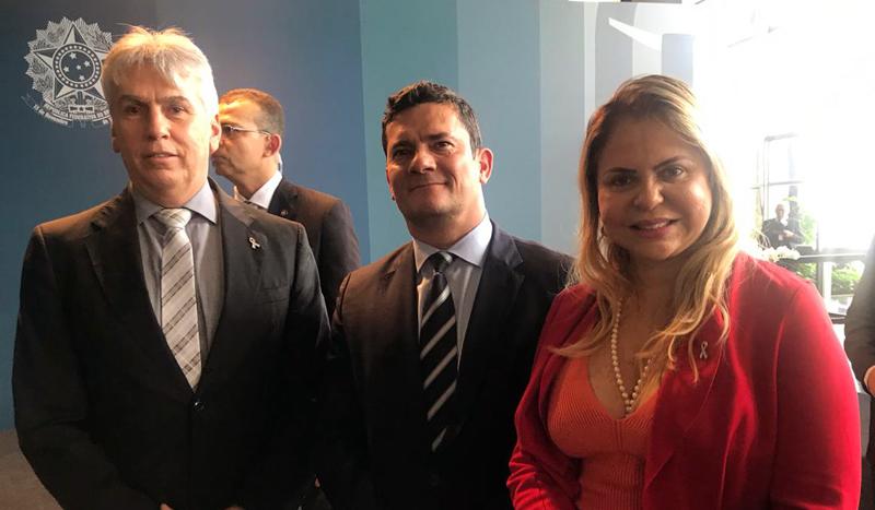 Procurador-geral Gilberto Martins, ministro Sérgio Moro e procuradora-geral do Amapá Ivana Cei